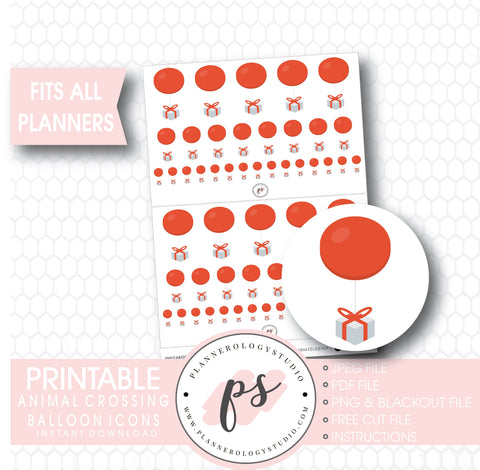 Animal Crossing Balloon Icons Digital Printable Planner Stickers - Plannerologystudio