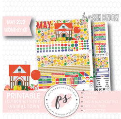 Animal Town (Animal Crossing Inspired) May 2020 Monthly View Kit Digital Printable Planner Stickers (for use with Erin Condren) - Plannerologystudio
