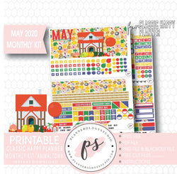 Animal Town (Animal Crossing Inspired) May 2020 Monthly View Kit Digital Printable Planner Stickers (for use with Classic Happy Planner) - Plannerologystudio