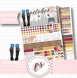 """Fall in the Park"" October 2017 Monthly View Kit Printable Planner Stickers (for use with Mambi Classic Happy Planner) - Plannerologystudio"