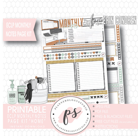 Home Monthly Notes Page Kit Digital Printable Planner Stickers (for use with ECLP) - Plannerologystudio