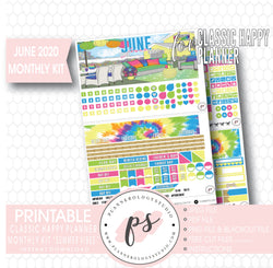 Summer Vibes June 2020 Monthly View Kit Digital Printable Planner Stickers (for use with Classic Happy Planner) - Plannerologystudio