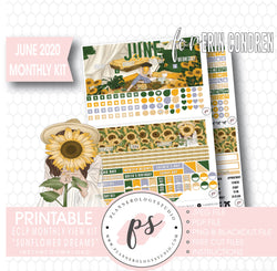 Sunflower Dreams June 2020 Monthly View Kit Digital Printable Planner Stickers (for use with Erin Condren) - Plannerologystudio