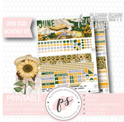 Sunflower Dreams June 2020 Monthly View Kit Digital Printable Planner Stickers (for use with Classic Happy Planner) - Plannerologystudio