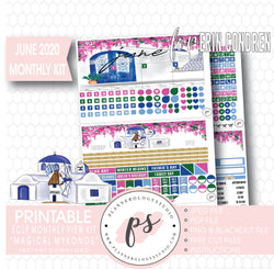 Magical Mykonos June 2020 Monthly View Kit Digital Printable Planner Stickers (for use with Erin Condren) - Plannerologystudio