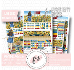 Dolce Vita June 2020 Monthly View Kit Digital Printable Planner Stickers (for use with Classic Happy Planner) - Plannerologystudio