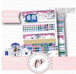 Magical Mykonos June 2020 Monthly View Kit Digital Printable Planner Stickers (for use with Classic Happy Planner) - Plannerologystudio