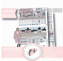 Winter Chills June 2020 Monthly View Kit Digital Printable Planner Stickers (for use with Erin Condren) - Plannerologystudio
