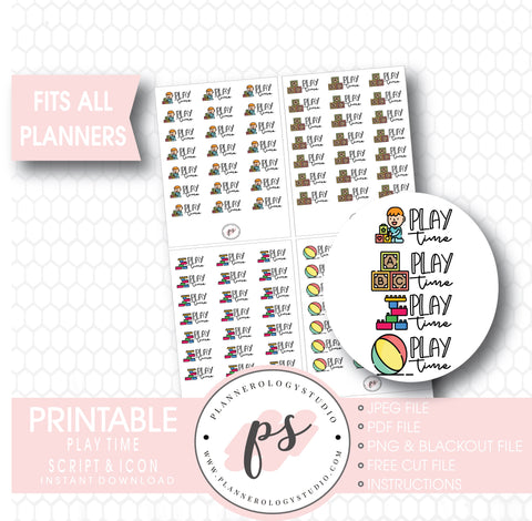Play Time Bujo Script & Icon Digital Printable Planner Stickers - Plannerologystudio
