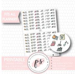 Various Chores Bujo Script & Icon Digital Printable Planner Stickers - Plannerologystudio