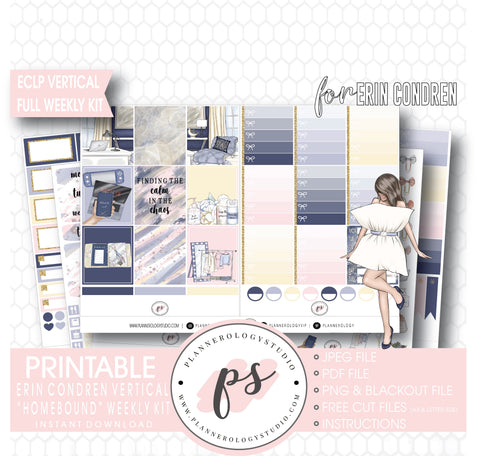 Homebound Full Weekly Kit Printable Planner Digital Stickers (for use with Erin Condren Vertical) - Plannerologystudio