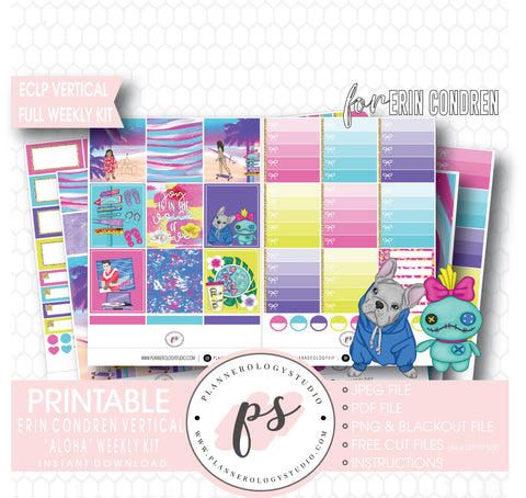 Aloha Full Weekly Kit Printable Planner Digital Stickers (for use with Erin Condren Vertical) - Plannerologystudio