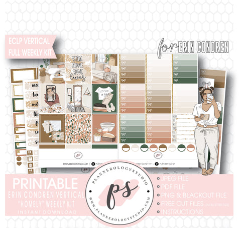 Homely Full Weekly Kit Printable Planner Digital Stickers (for use with Erin Condren Vertical) - Plannerologystudio