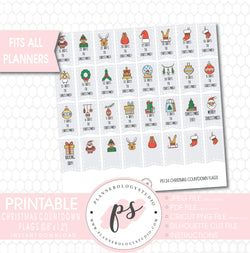 Christmas Countdown Flags Printable Planner Stickers - Plannerologystudio