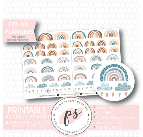 Scandi Rainbows Deco Sheet Digital Printable Planner Stickers. - Plannerologystudio