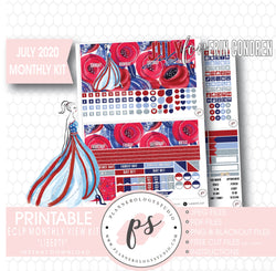 Liberty Independence Day July 2020 Monthly View Kit Digital Printable Planner Stickers (for use with Erin Condren) - Plannerologystudio