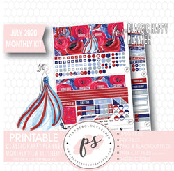 Liberty Independence Day July 2020 Monthly View Kit Digital Printable Planner Stickers (for use with Classic Happy Planner) - Plannerologystudio