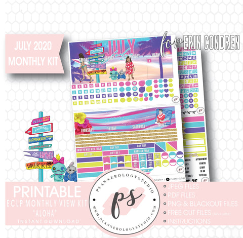 Aloha July 2020 Monthly View Kit Digital Printable Planner Stickers (for use with Erin Condren) - Plannerologystudio