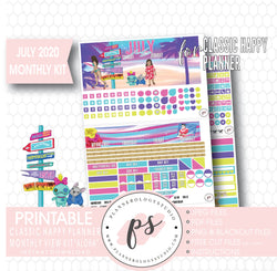 Aloha July 2020 Monthly View Kit Digital Printable Planner Stickers (for use with Classic Happy Planner) - Plannerologystudio