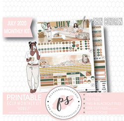 "Homely July 2020 Monthly View Kit Digital Printable Planner Stickers (for Standard A5 Wide Monthly 1.6"" Width Date Boxes)"