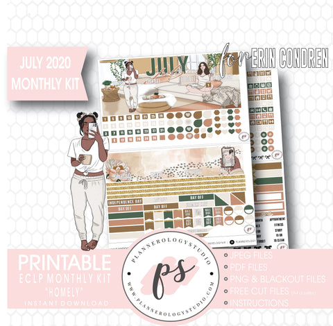 Homely July 2020 Monthly View Kit Digital Printable Planner Stickers (for use with Erin Condren)