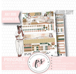 Homely July 2020 Monthly View Kit Digital Printable Planner Stickers (for use with Classic Happy Planner)