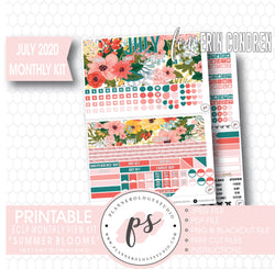 "Summer Blooms July 2020 Monthly View Kit Digital Printable Planner Stickers (for Standard A5 Wide Monthly 1.6"" Width Date Boxes)"