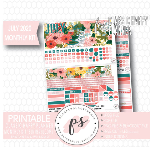 Summer Blooms July 2020 Monthly View Kit Digital Printable Planner Stickers (for use with Classic Happy Planner)