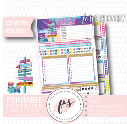 Aloha Monthly Notes Page Kit Digital Printable Planner Stickers (for use with Standard A5 Wide Planners)
