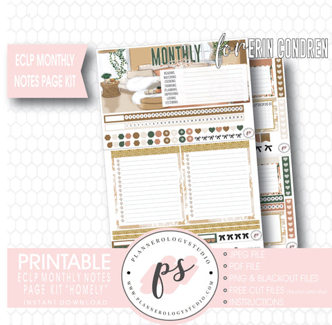 Homely Monthly Notes Page Kit Digital Printable Planner Stickers (for use with Standard A5 Wide Planners)