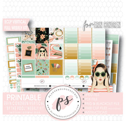 By the Pool Full Weekly Kit Printable Planner Digital Stickers (for use with Standard Vertical A5 Wide Planners)