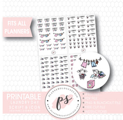 Various Laundry Day Script & Icons/Emoticons Digital Printable Planner Stickers