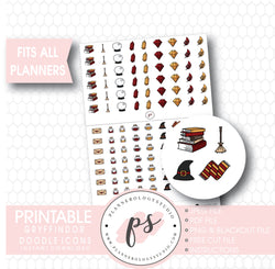 Wizards & Magic (Harry Potter Gryffindor House) Doodle Icons Digital Printable Planner Stickers