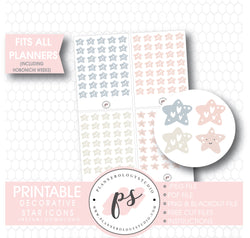 Decorative Star Doodle Icons Digital Printable Planner Stickers