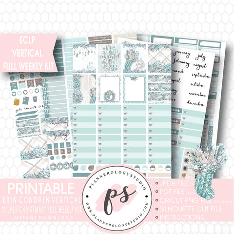 Silver Christmas Full Weekly Kit Printable Planner Stickers (for use with ECLP Vertical) - Plannerologystudio