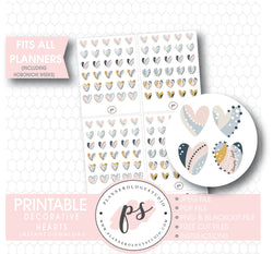 Decorative Heart Doodle Icons Digital Printable Planner Stickers