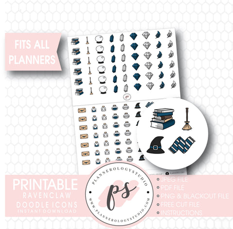 Wizards & Magic (Harry Potter Ravenclaw House) Doodle Icons Digital Printable Planner Stickers