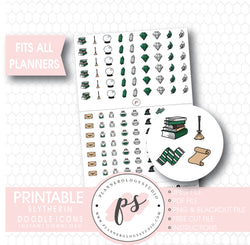 Wizards & Magic (Harry Potter Slytherin House) Doodle Icons Digital Printable Planner Stickers