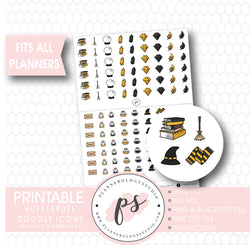 Wizards & Magic (Harry Potter Hufflepuff House) Doodle Icons Digital Printable Planner Stickers