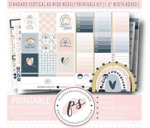Over the Rainbow Weekly Kit Printable Planner Digital Stickers (for use with Standard Vertical A5 Wide Planners)