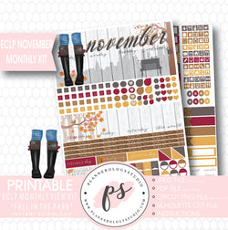 """Fall in the Park"" November 2017 Monthly View Kit Printable Planner Stickers (for use with ECLP) - Plannerologystudio"