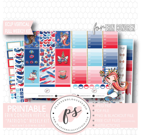Patriotic (Independence Day) Full Weekly Kit Printable Planner Digital Stickers (for use with Standard Vertical A5 Wide Planners)
