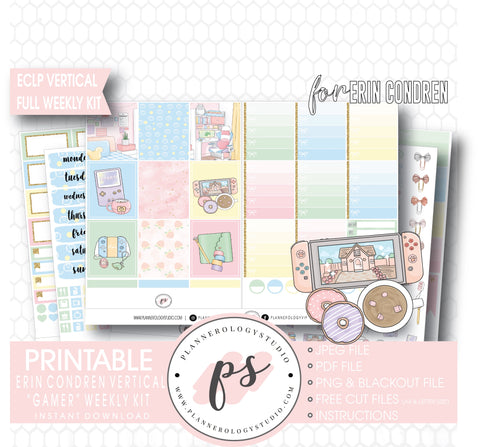 Gamer Full Weekly Kit Printable Planner Digital Stickers (for use with Standard Vertical A5 Wide Planners)