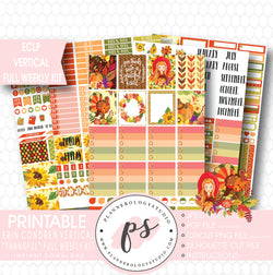 Thankful (Thanksgiving) Full Weekly Kit Printable Planner Stickers (for use with ECLP Vertical) - Plannerologystudio