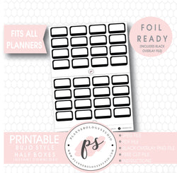 Bullet Journal Bujo Black & White Foil Ready Half Boxes Digital Printable Planner Stickers
