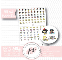 Disney Princess Inspired Summer Icons/Emoticons Digital Printable Planner Stickers