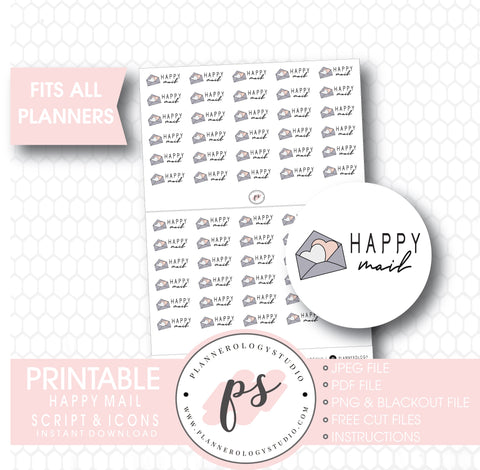 Happy Mail Bujo Script & Icon Digital Printable Planner Stickers