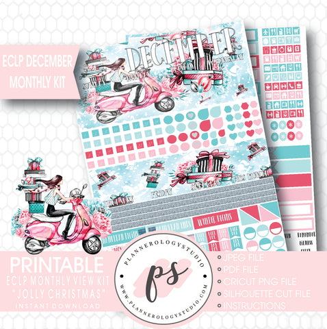 Jolly Christmas December 2017 Monthly View Kit Printable Planner Stickers (for use with Erin Condren) - Plannerologystudio