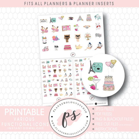Various Functional Digital Printable Planner Icon Stickers