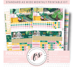 Safari August 2020 Monthly Kit Digital Printable Planner Stickers (for use with Standard A5 Wide Planners)